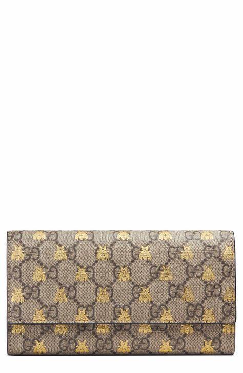 8b99a71fea8 Main Image - Gucci Linea Bee GG Supreme Continental Wallet