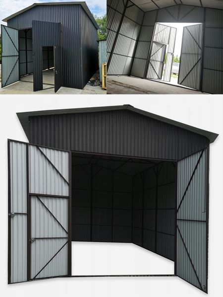 Garaz Blaszany 5x7x4 Z Dachem Dwuspadowym Brama