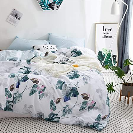 Floral Cotton Duvet Cover Queen 100 Cotton Reversible Green Botanical Leaves Printed White Bedding Duvet Cover In 2021 Floral Duvet Cover Duvet Bedding Duvet Covers