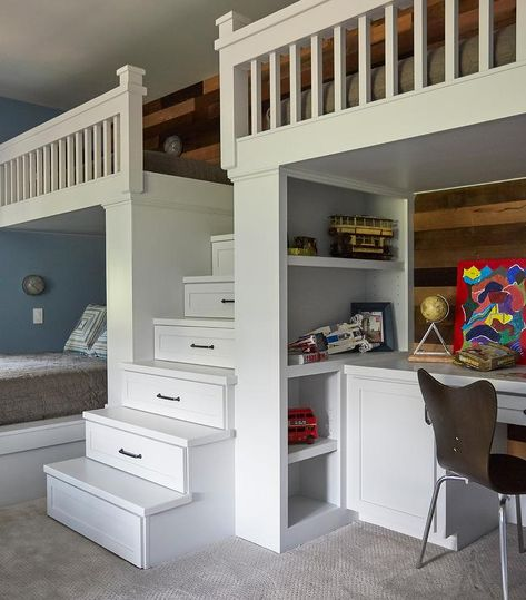 Shared Boys Bedroom For 3 Boasts A White Built In Loft Bed