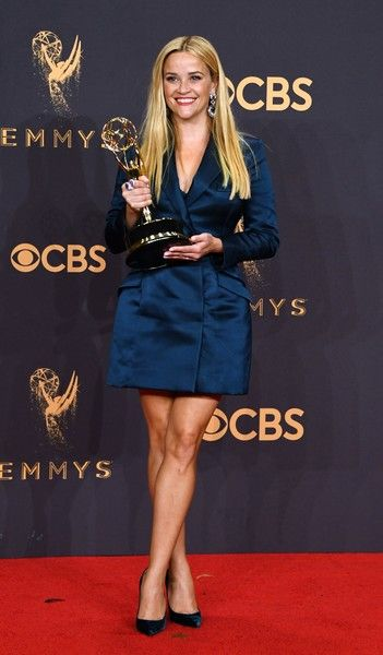 Actor/producer Reese Witherspoon, winner of the Outstanding Limited Series award for 'Big Little Lies,' poses during the 69th Emmy Awards at the Microsoft Theatre.