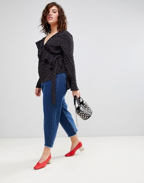 98309078aa505f Boohoo Plus Polka Dot Tie Side Blouse   outfits I will probably ...
