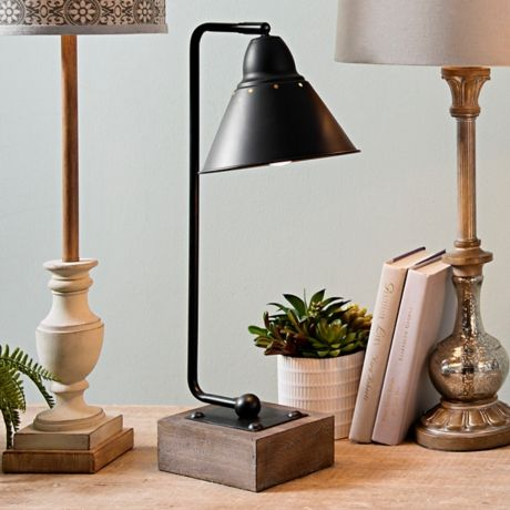 Louis Matte Black Metal And Wood Table Lamp Table Lamp Wood Black Table Lamps Metal Table Lamps