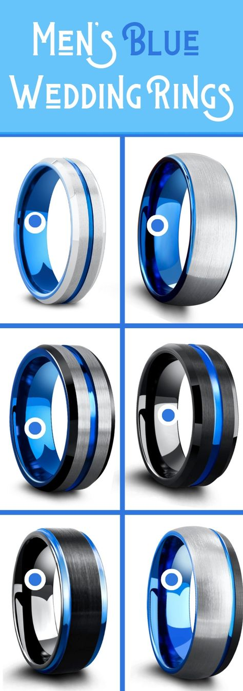 Men's blue wedding rings crafted out of tungsten carbide. These unique mens wedding rings are super durable and super comfy. A huge collection of blue and black rings and blue an silver mens wedding rings! So many mens wedding rings to pick from! Blue Wedding Rings, Unique Wedding Bands, Wedding Men, Wedding Engagement, Wedding Ideas, Engagement Rings, Ring Crafts, Bracelet Crafts, Tungsten Wedding Bands