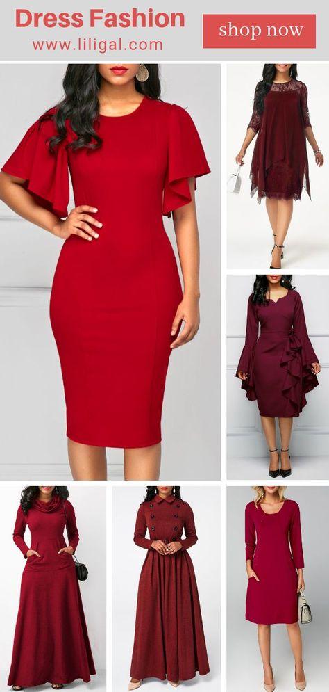 fb993b5b5a6 2018 Dress Fashion  red party dresses