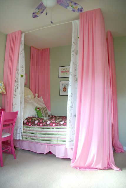 Diy Bed Curtain Turning A Little Girls Dream Of A 4 Poster Bed Into Reality Without Getting A New Bed The P Girls Bed Canopy Bedroom Diy Girls Bedroom Colors