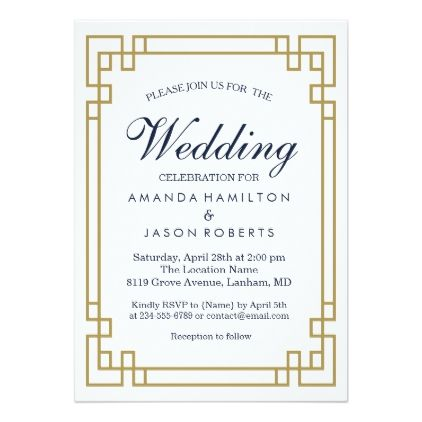 Elegant Geometric Golden Frame Wedding Invitation Zazzle Com