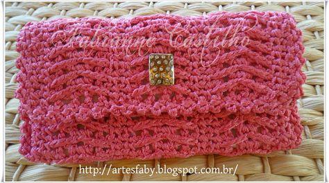 Carteira em croch� , Outubro Rosa