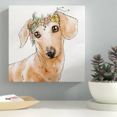 Brown Dachshund Hot Dog Print On Canvas In 2020 Brown Dachshund