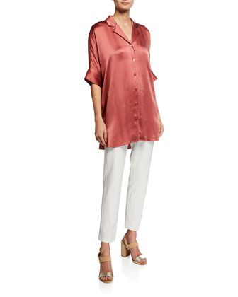 8c544461 Hammered+Silk+Button-Front+Elbow-Sleeve+Shirt+and+Matching+Items+by+Eileen +Fisher+at+Neiman+Marcus.