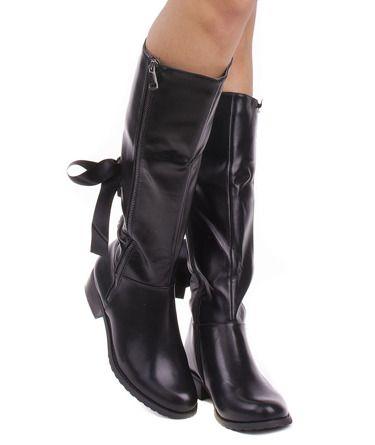 Czarne Skorzane Kozaki Z Wiazaniem Alma Riding Boots Boots Shoes