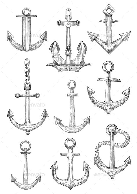 Decorative Nautical Anchors with Chain and Rope - Tattoos Vectors