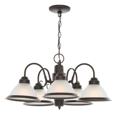 Hampton Bay Halophane 5 Light Oil Rubbed Bronze Chandelier With