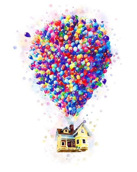 Balloon House Art Print Up Watercolor Disney Pixar Up Printable Up Movie House on Balloons Poster Baby Shower Gift Nursery Poster Download