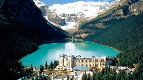 Lake Louise in Banff National Park, Canada with a train ride through the rockies