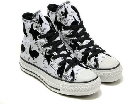 53cf12203ad3 Converse All Star Black Rabbits High Top White Canvas Shoes ...