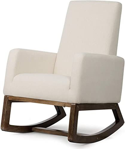 Best Seller Giantex Upholstered Rocking Chair Modern High Back Armchair Comfortable Rocker Fabric Padded Seat Wood Base Massage Rocking Chair Nursery Beige In 2020 Upholstered Rocking Chairs Rocking Chair Nursery Rocking Chair