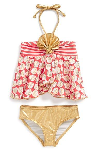 Childrens Size 2T Orange Polka Dot Bikini