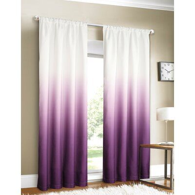Wetterland Ombre Room Darkening Rod Pocket Curtain Panels Curtain Color Purple In 2020 Purple Curtains Panel Curtains Living Room Design Diy