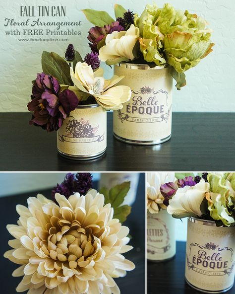 Fall Tin Can Floral Arrangement with FREE Printables