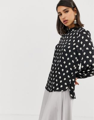 River Island blouse with high neck in