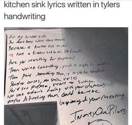 Trendy Kitchen Sink Tattoo Twenty One Pilots Lyrics 39 Ideas Twenty One Pilots Lyrics Twenty One Pilots Tattoo Twenty One Pilots