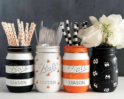 Pumpkin Mason Jars Painted Pumpkin Mason Jars Halloween | Etsy