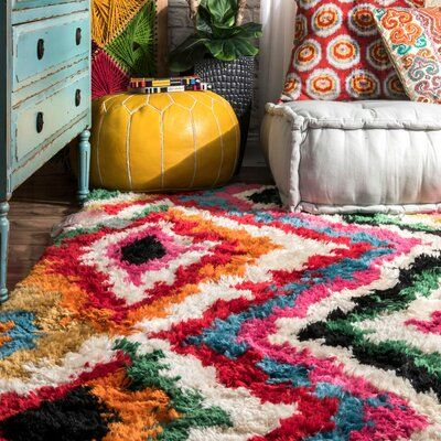Shop nuLOOM Multi Soft and Plush Trellis Abstract Carnival Shag Rug - On Sale - Overstock - 14387318 - Multi - x Bohemian Design, Bohemian Style, Bedroom Colors, Bedroom Decor, Bright Bedroom Ideas, Wall Decor, Rugs Usa, Contemporary Home Decor, Buy Rugs