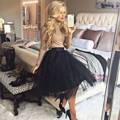New black luxurious 6 layers tulle women skirt tutu midi knee length full circle - outfit.