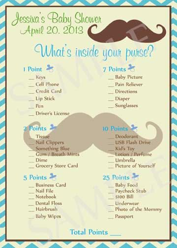 Mustache Baby Shower Games - Printable No.