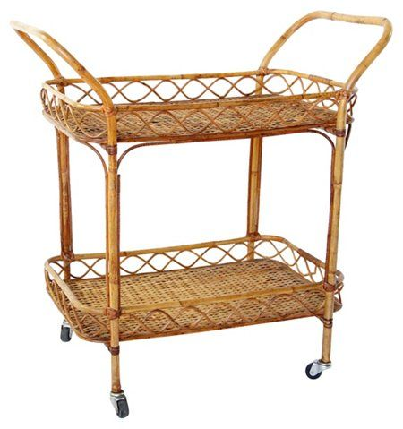 Midcentury Bamboo Rattan Bar Cart Rattan Bar Cart Bar Cart