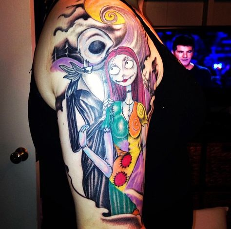 Top half of my right arm. Jack and Sally❤️ this whole arm will be filled with Nightmare Before Christmas tattoos!