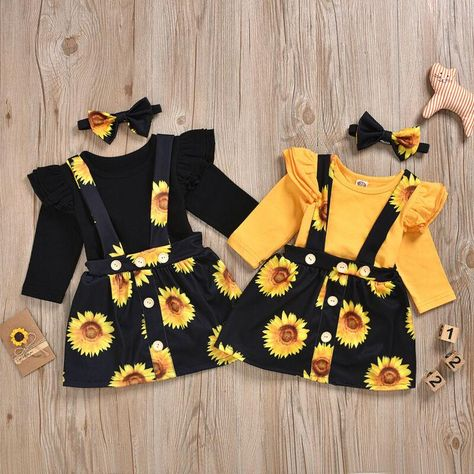 Ruffle Shoulder Bodysuit W/ Sunflower Suspender Skirt & Headband Baby Girl Clothes Bodysuit Headband Ruffle Shoulder Skirt Sunflower Suspender Cute Baby Girl Outfits, Toddler Girl Outfits, Baby Girl Dresses, Kids Outfits, Cute Outfits, Matching Sister Outfits, Baby Girl Birthday Dress, Girl First Birthday, Baby Outfits Newborn
