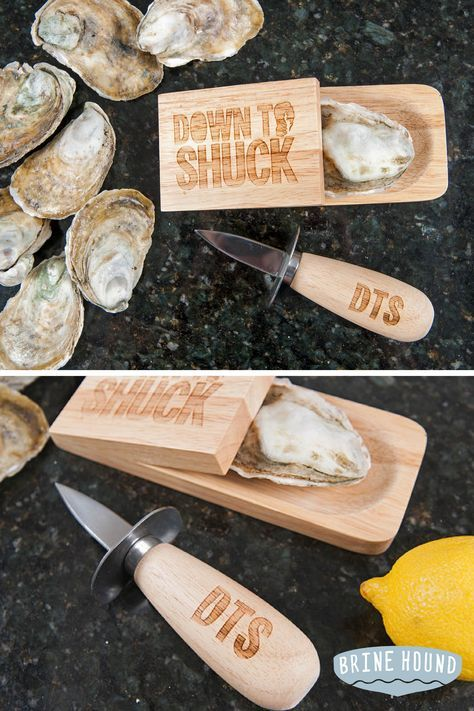 This hardwood and stainless steel engraved oyster shucking block and French style oyster knife set has two things we really stand behind: a blunt sentiment, and a sharp edge. Use it as a conversation starter at your next oyster roast, bachelor party, or