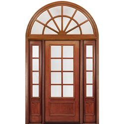 Mai Doors Dd88l 1 2 Rt 8 0 Tall 8 Lite Panel Bottom Mahogany Exterior Door With Two Sidelites And Rounde Exterior Doors Window Trim Exterior Doors And Floors