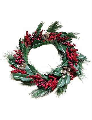Shop Christmas Trees Decorations More Online David Jones 70cm Red Berry Pears Long Needle Pine Wreath In 2020 Pine Wreath Wreaths Christmas Wreaths