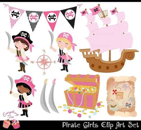 Cute Pirate Girls Clip Art Set by on Etsy