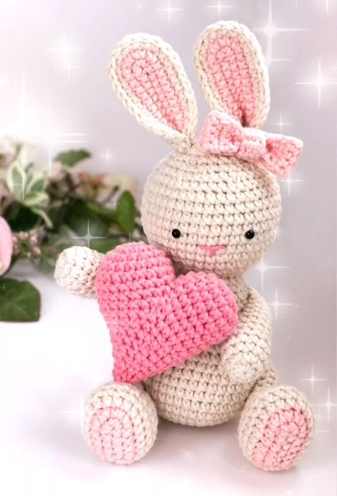 This cute bunny is a perfect Valentine's day handmade gift for your loved ones.  The finished toy is 6,7 inches or 17 cm tall when made with the indicated yarn.  This is a crochet pattern not a finished toy!  This crochet tutorial contains detailed instructions and over 70 step by step photos