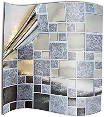 24pc Silver Chrome Kitchen Bathroom Tile Stickers For 15cm 6 Inches Square Tiles 2d Printed Tp71 Diy Kitchen Backslash Decor In 2020 Tiles Tile Bathroom Style Tile