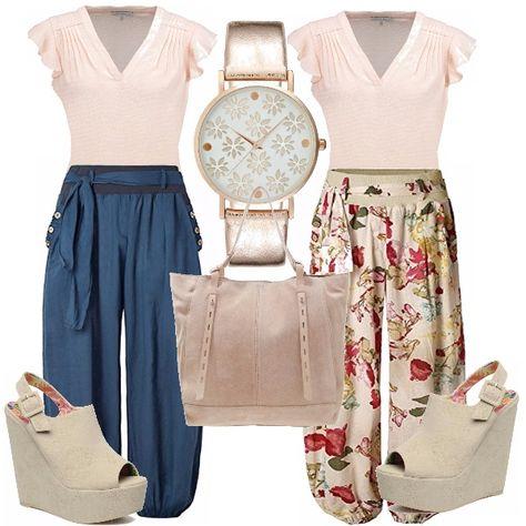 Rosa e blu, o rosa e fantasia, scegli tu! Potresti anche comprare tutto, perché no? Primo look: t-shirt con manica ad aletta in tinta unita in rosa…