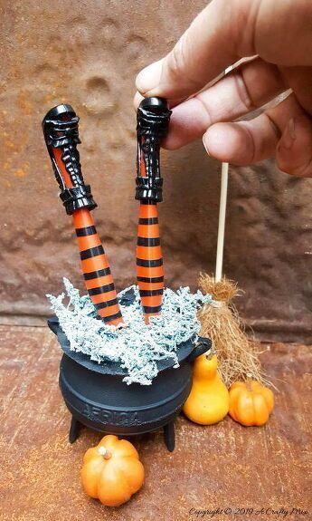 Miniature Witch Legs In A Cauldron Wickedly Awesome Spooky Halloween Decorations Spooky Decor Diy Halloween Decorations