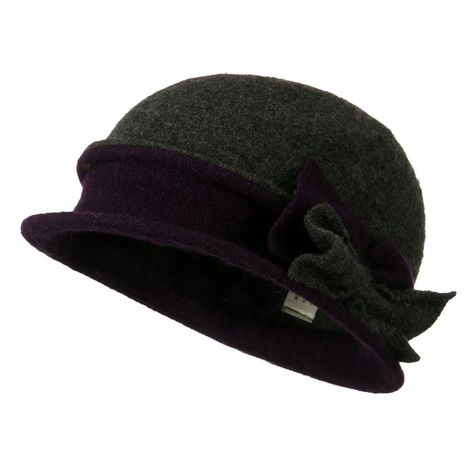 f59e2c26698 2 Toned Boiled Wool Bucket Hat with Bow Detail - Grey - CZ11BKZUS8P - Hats    Caps