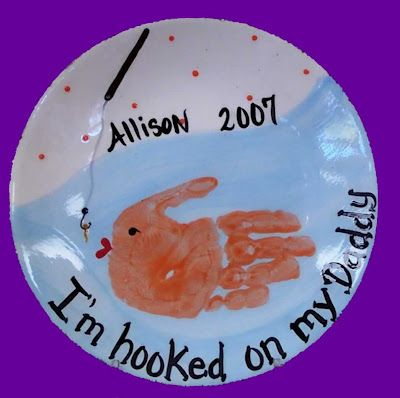 I'm Hooked On My Daddy handprint plate... could also do as a card!