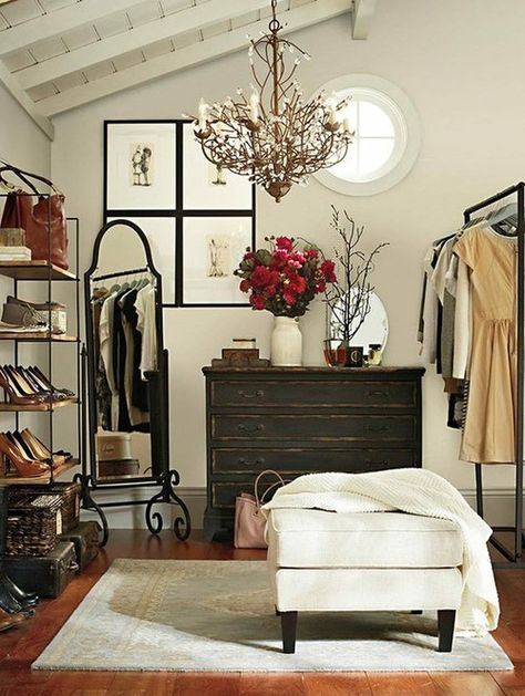 """Even if you don't have a walk-in closet, there's a strong possibility you can make room for one. Here's some tips on ways to create your dream closet or dressing room! (I really like the idea of some of these, even though it would require that you have some extra room in your """"master"""" bedroom)"""
