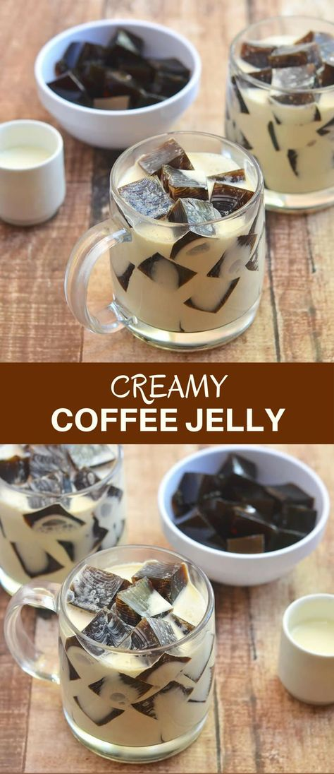 Coffee Jelly with coffee-flavored gelatin generously drizzled with sweetened cream for a simple yet impressive dessert everyone is sure to love! It's a fun and delicious way to get your caffeine fix! Jelly Desserts, Asian Desserts, Dessert Recipes, Plated Desserts, Coffee Jello, Coffee Dessert, Drink Coffee, Starbucks Coffee, Sweets