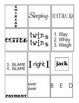 Rebus puzzles with answers worksheets Awesome