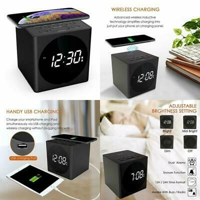 Wireless Charging Alarm Clock Radio For Bedroom Wireless Charger Compatible Iph Fashion Home Garden Homedcor Clocks E Clock Alarm Clock Radio Alarm Clock