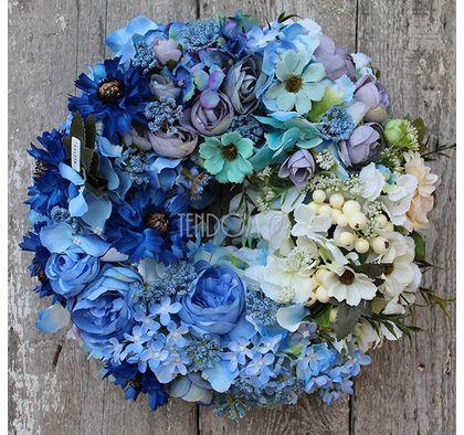 Blue Meadow Dekoracja Wianek Na Drzwi Sr 33cm Tendom Pl Wreath Decor Fall Wreaths Flower Decorations