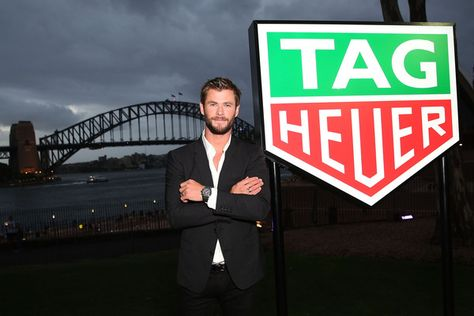 Chris Hemsworth poses at the Australian launch of Heuer 01 at The Royal Botanic Gardens on February 4, 2016 in Sydney, Australia.