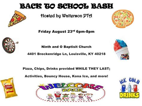 Join us for our first night of fun and family! It's our Back To School Bash!!! #Food#Games#Giveaways#Fun#wearejcps